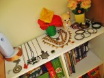 my necklaces, travel books, games, and other junk